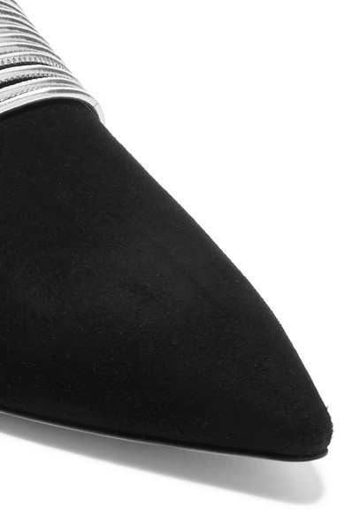 Aquazzura Slippers | Rendez Vous Slippers Aquazzura aus Metallic-Leder und Veloursleder aaeecb