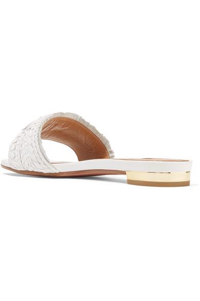 Sauvage Tasseled Woven Leather Sandals - White Aquazzura vWX3NVR