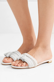 Sauvage tasseled woven leather sandals