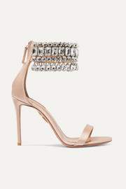 Aquazzura Gem Palace crystal-embellished satin sandals