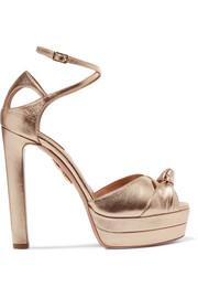Aquazzura Harlow metallic textured-leather platform sandals
