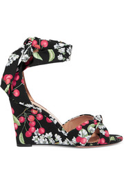 Aquazzura All Tied Up printed canvas wedge sandals