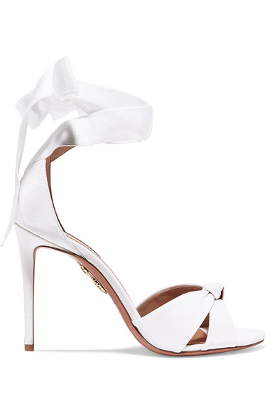 Manchester Great Sale Cheap Online All Tied Up 105 Sandals in White Gros Grain Aquazzura Purchase For Sale Looking For Clearance 2018 New ZcyFjXF4V