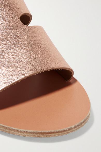 Ancient Greek Sandals | Leder Apteros Pantoletten aus strukturiertem Leder | in Metallic-Optik mit Cut-outs c91920