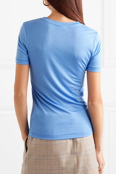 GANNI Linfield bedrucktes T-Shirt aus Stretch-Jersey