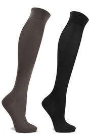 Set of two stretch cotton-blend knee socks