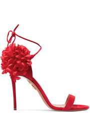 Aquazzura Lily of the Valley canvas-trimmed suede sandals