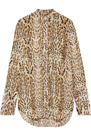 Leopard-print cotton-voile blouse