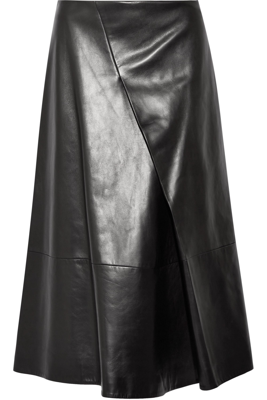 Jil Sander Pleated leather midi skirt