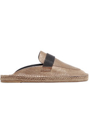 Chain-embellished metallic leather espadrille slippers