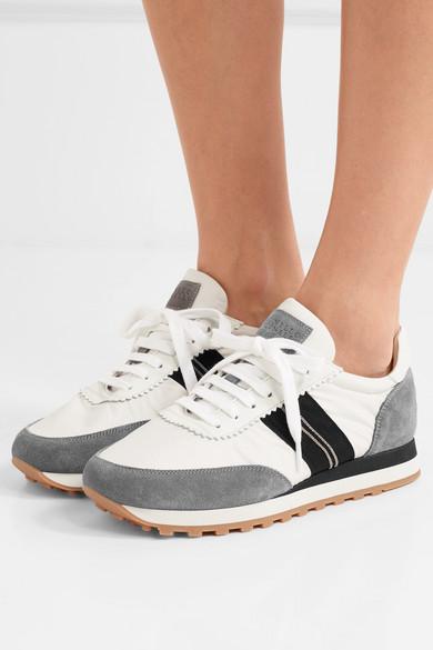 Und Leder Aus Veloursleder Brunello Verzierte Cucinelli Sneakers Satin q7vS4a