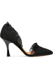 Flora ruffled organza-trimmed faille pumps