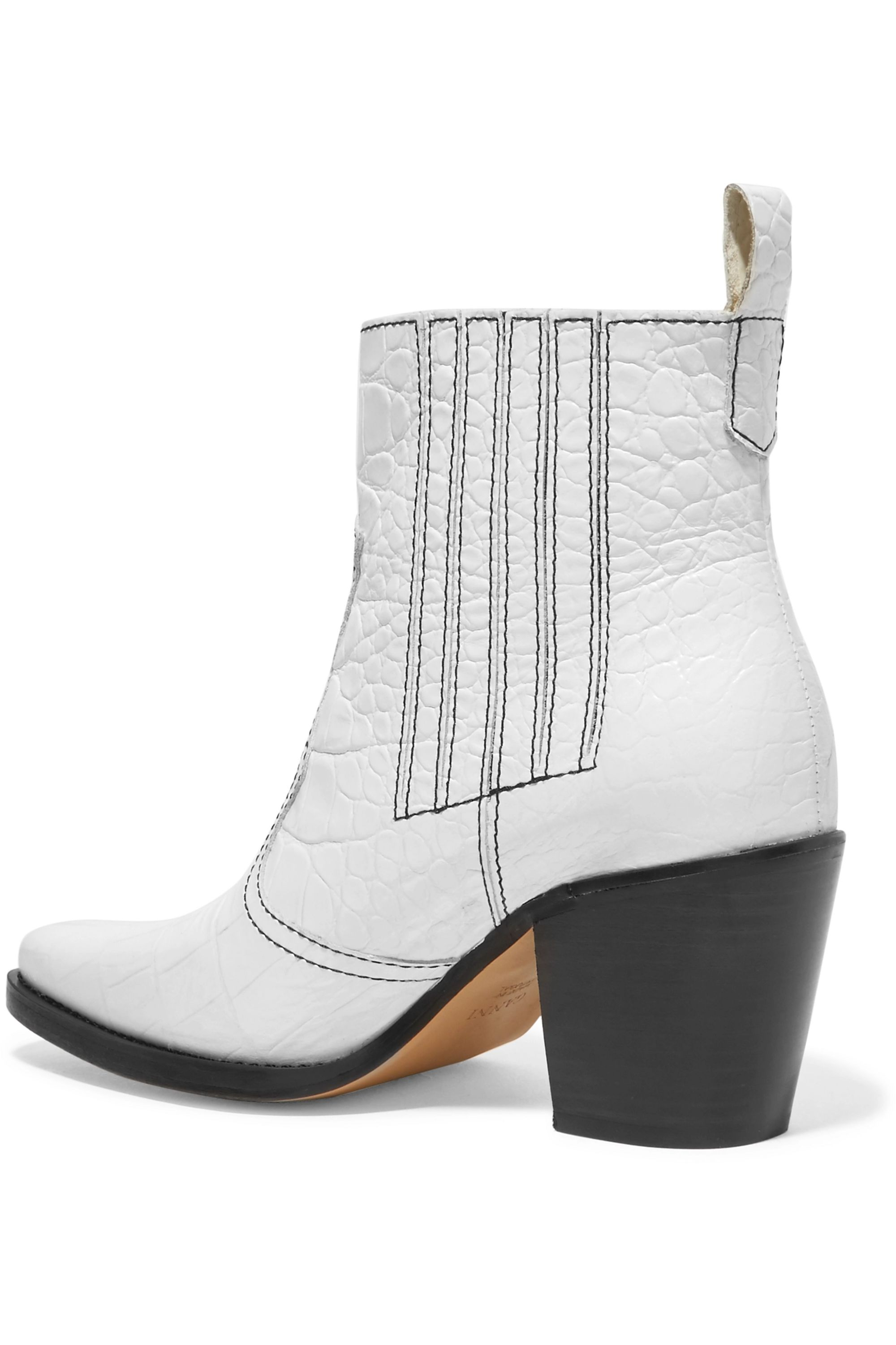 GANNI Callie textured-leather ankle boots