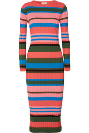 Jeanne striped ribbed-knit midi dress