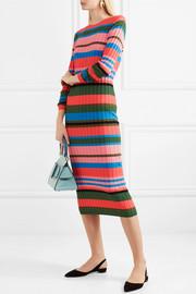 Stine GoyaJeanne striped ribbed-knit midi dress