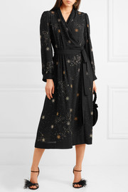 Micaela embellished crepe wrap dress