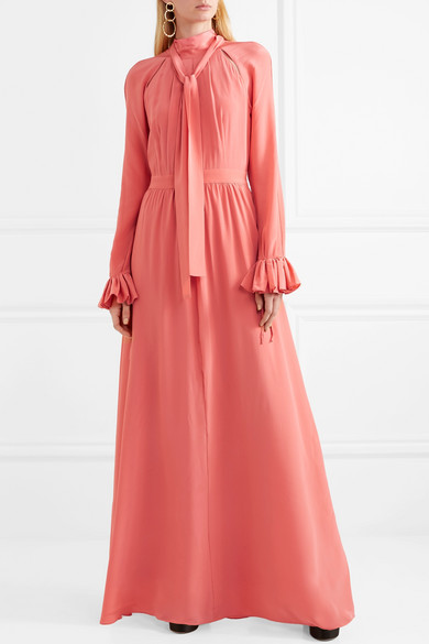 Stine goya agacia cutout ruffle trimmed silk gown net for Net a porter