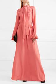 Stine GoyaAgacia cutout ruffle-trimmed silk gown