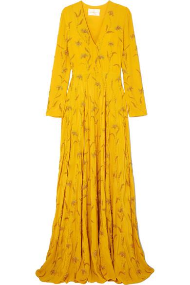 Stine Goya Margo verzierte Robe aus Crêpe de Chine aus Seide mit Wickeleffekt