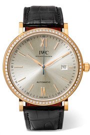 Portofino Automatic 40 alligator, 18-karat red gold and diamond watch