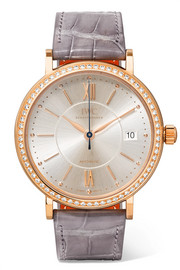 Portofino Automatic 37 alligator, 18-karat red gold and diamond watch