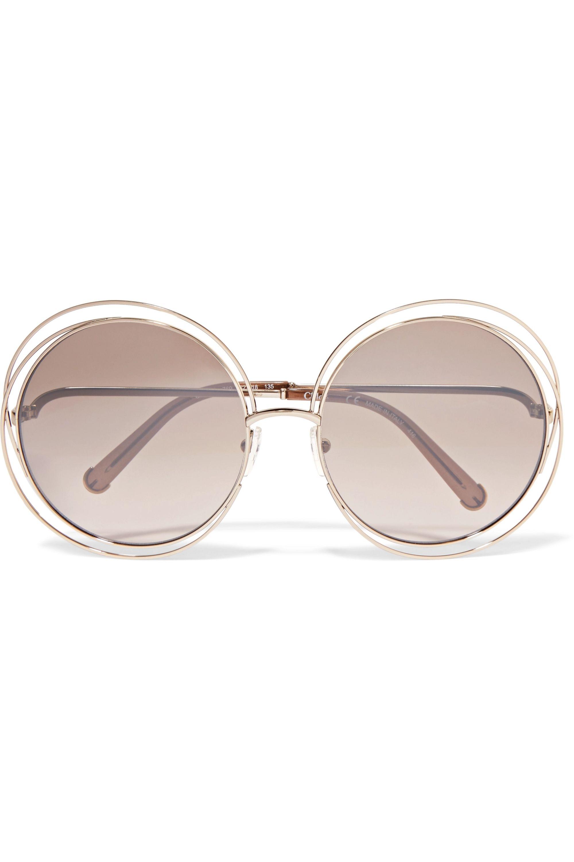 Chloé Carlina oversized round-frame gold-tone sunglasses