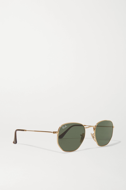 Ray-Ban 金色金属六边形框太阳镜