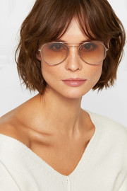 TOM FORD Aviator-style rose gold-tone sunglasses