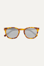 Cat-eye tortoiseshell acetate mirrored sunglasses