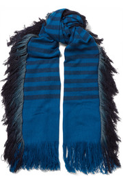 Bhalay fringed striped camel and yak-blend scarf