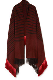 Kamal fringed striped herringbone yak and camel-blend wrap