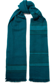 Lalita fringed striped wool scarf