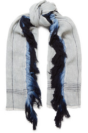 Fringed wool and linen-blend scarf