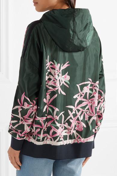 Moncler Comte Jacke aus Shell mit Kapuze und Blumendruck