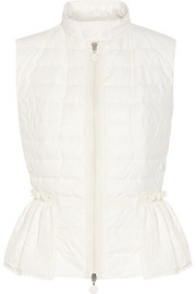 Moncler Valensole paneled quilted cotton and broderie anglaise down vest