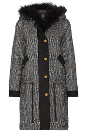 Lara faux shearling-trimmed tweed down coat