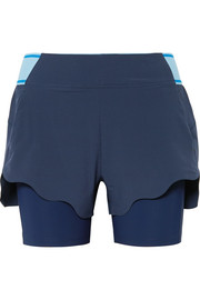 Turf layered stretch-jersey and shell shorts