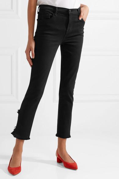 J Brand Ruby hoch sitzende, verkürzte Jeans in Distressed-Optik mit geradem Bein