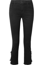 J Brand Ruby cropped distressed high-rise straight-leg jeans