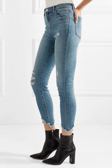 J Brand Alana verkürzte, hoch sitzende Skinny Jeans in Distressed-Optik