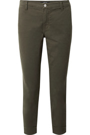 J Brand Josie cropped stretch-cotton twill tapered pants