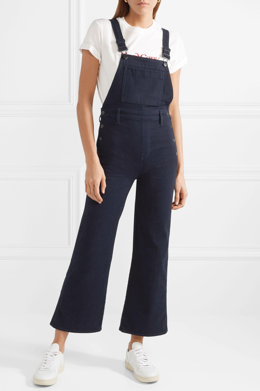 J Brand Cropped stretch-denim flared overalls