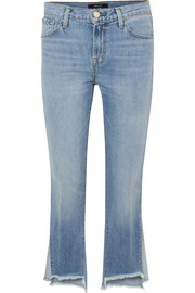 Aubrie frayed high-rise flared jeans