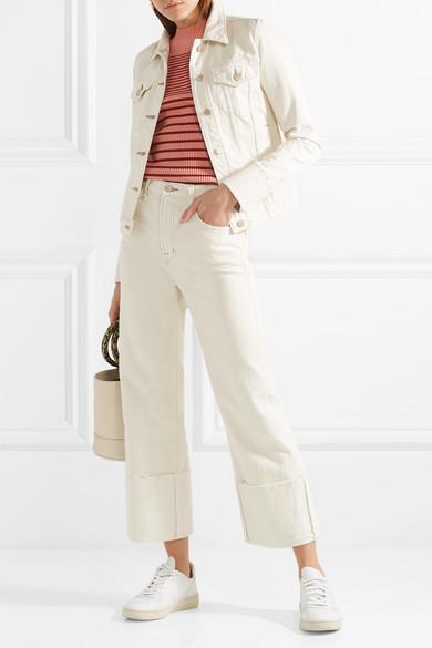 J Brand Schmal geschnittene Jeansjacke mit Fransen