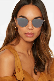 Cat-eye gold-tone mirrored sunglasses