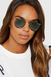 Round-frame tortoiseshell acetate and gold-tone sunglasses