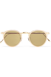 Round-frame acetate and gold-tone sunglasses