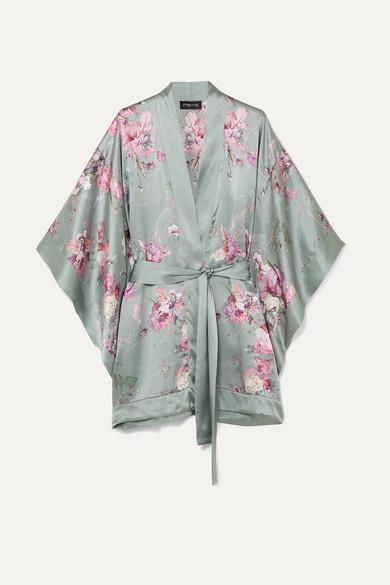MENG Kimono aus Seidensatin mit floralem Print