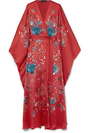 Printed silk-satin robe