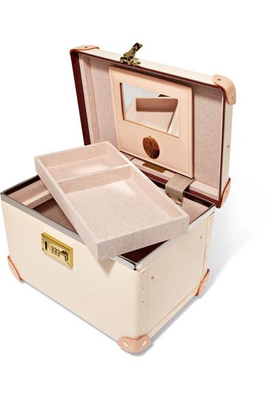 Globe-Trotter Safari 32 cm Kosmetikkoffer aus Vulkanfiber mit Lederbesatz
